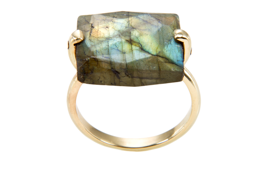 Square Faceted Labradorite Slice U Shank Ring