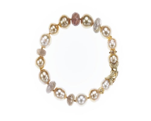 Gold and white South Sea pearl bracelet