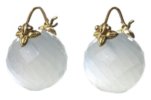 Round Faceted White Moonstone Flyer Earrings
