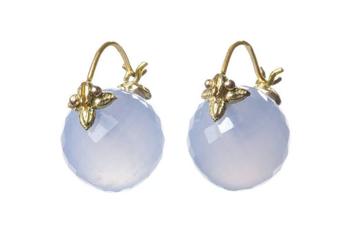 Round Faceted Blue Chalcedony Flyer Earrings