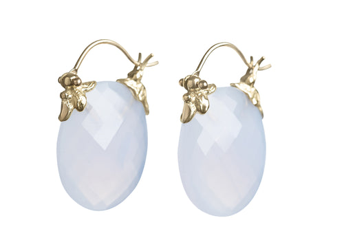 Faceted Oval Pale Blue Chalcedony Petal Flyer Earrings