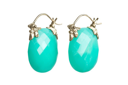 Faceted Oval Green Chrysoprase Petal Flyer Earrings