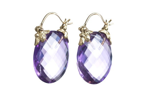 Faceted Oval Amethyst Petal Flyer Earrings
