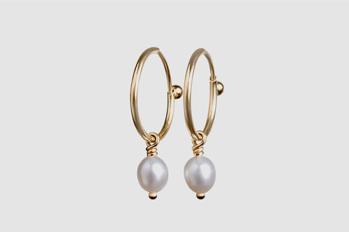 Mini Freshwater Pearl Earrings on Hoops
