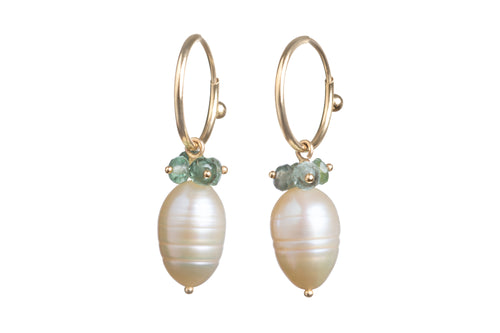Pale Peach Mini Freshwater Pearl with Green Tourmaline Cluster Endless Hoops Earrings