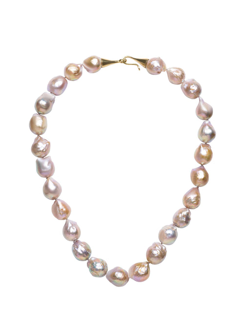 Beige Golden Baroque Freshwater Necklace