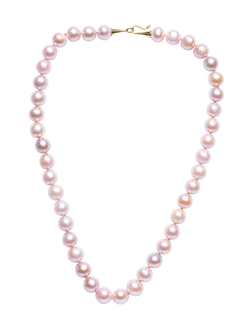 Pink with Purple Overtones Round Freshwater Pearl Necklace