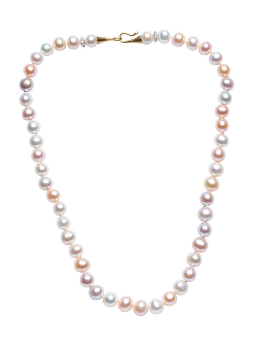 Pale Pastel Multi-colored Rondelle Freshwater Pearl Necklace