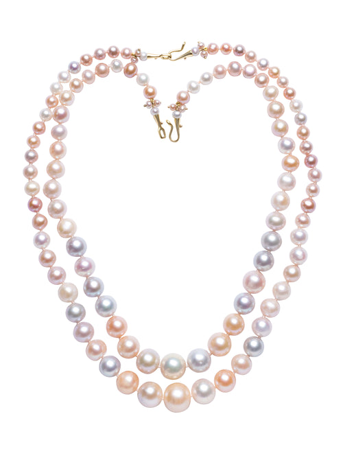 Pair of Nesting Pastel Multi-colored Freshwater Pearl Necklaces