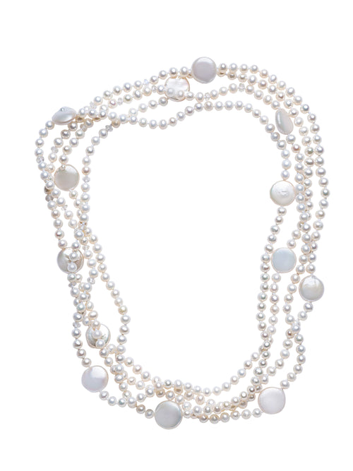 White Freshwater Pearl Wrap Necklace