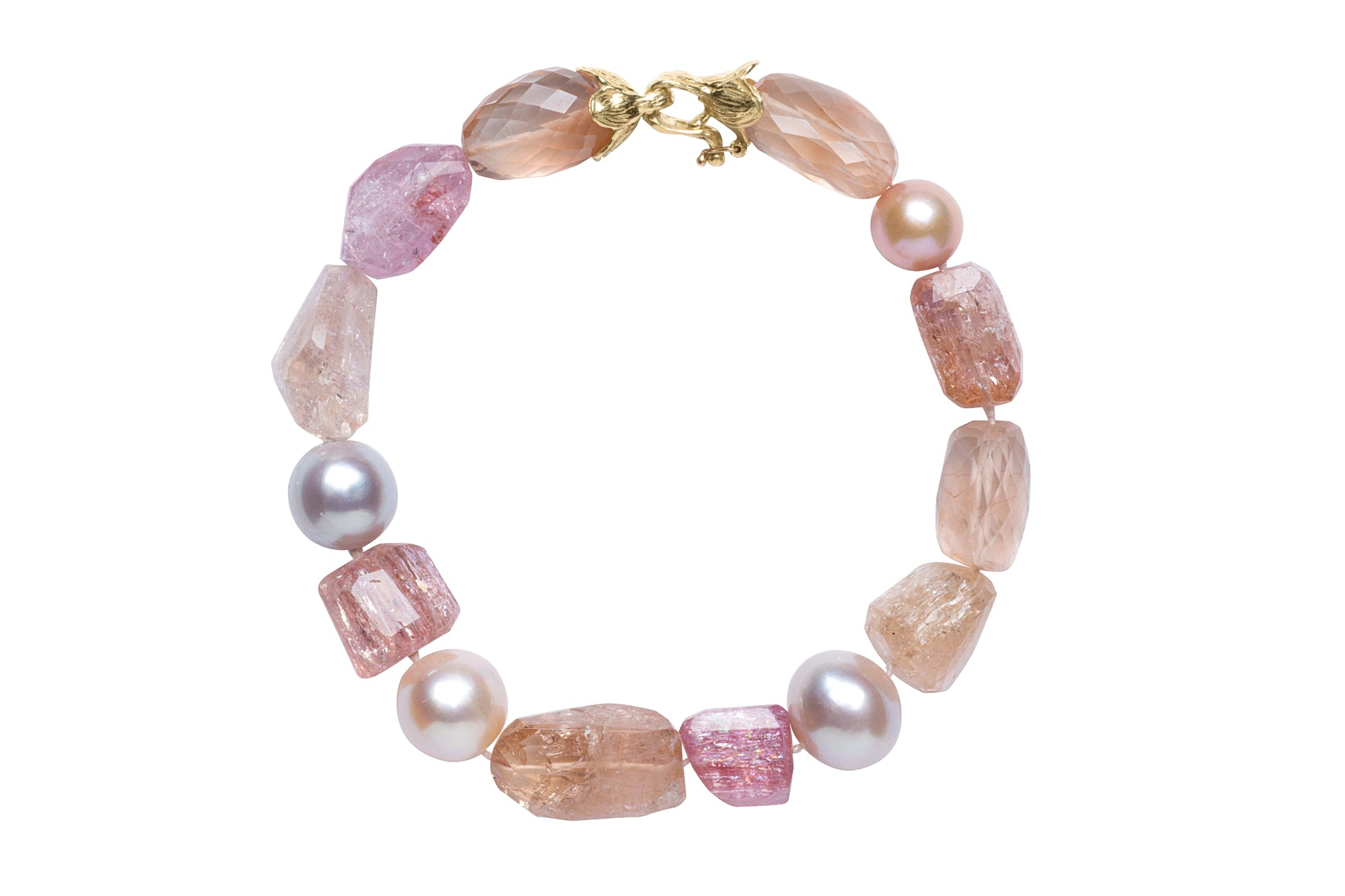 Imperial Topaz, Kunzite and Pink Freshwater Pearl Bracelet