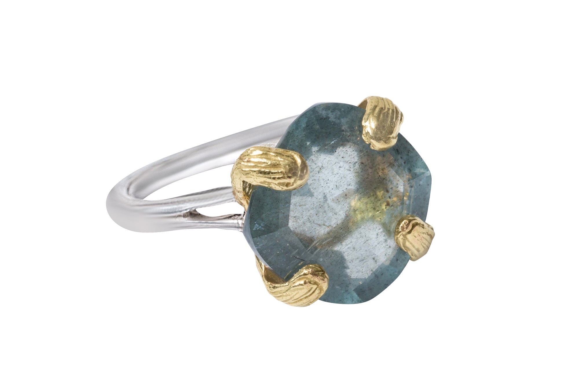 Faceted Blue Aquamarine Petal Prong Eye Ring