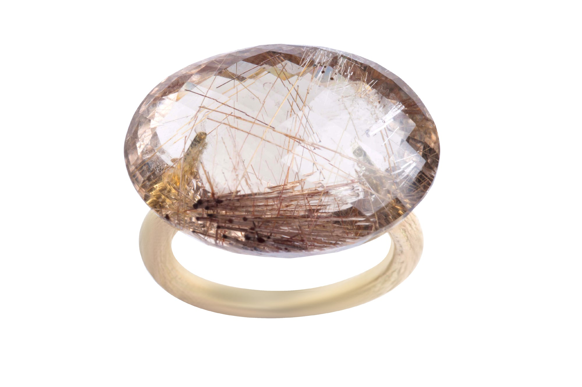 Faceted Oval Red Rutilated Quartz Twig Ring