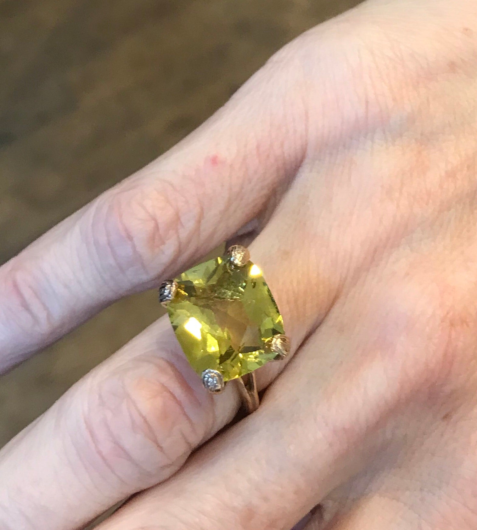 Olive Citrine faceted rectangle, 18k pink gold textured petal claw shank