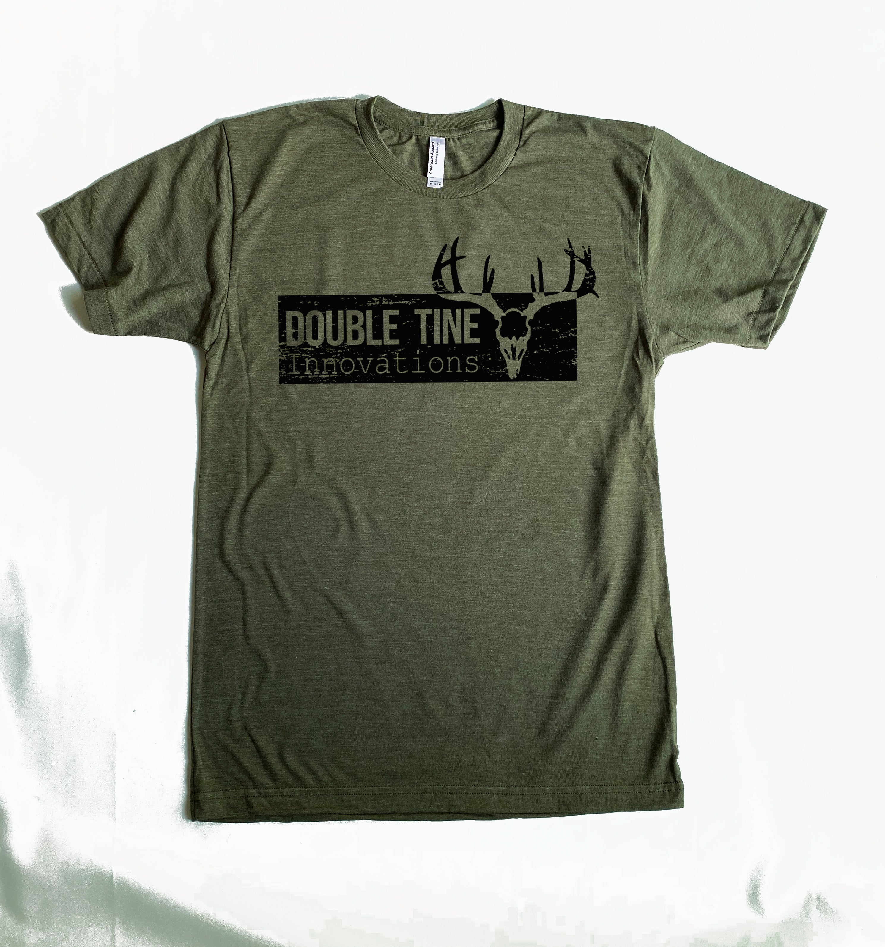 Heathered Army Green Short Sleeve Double Tine Distressed Logo T Shirt