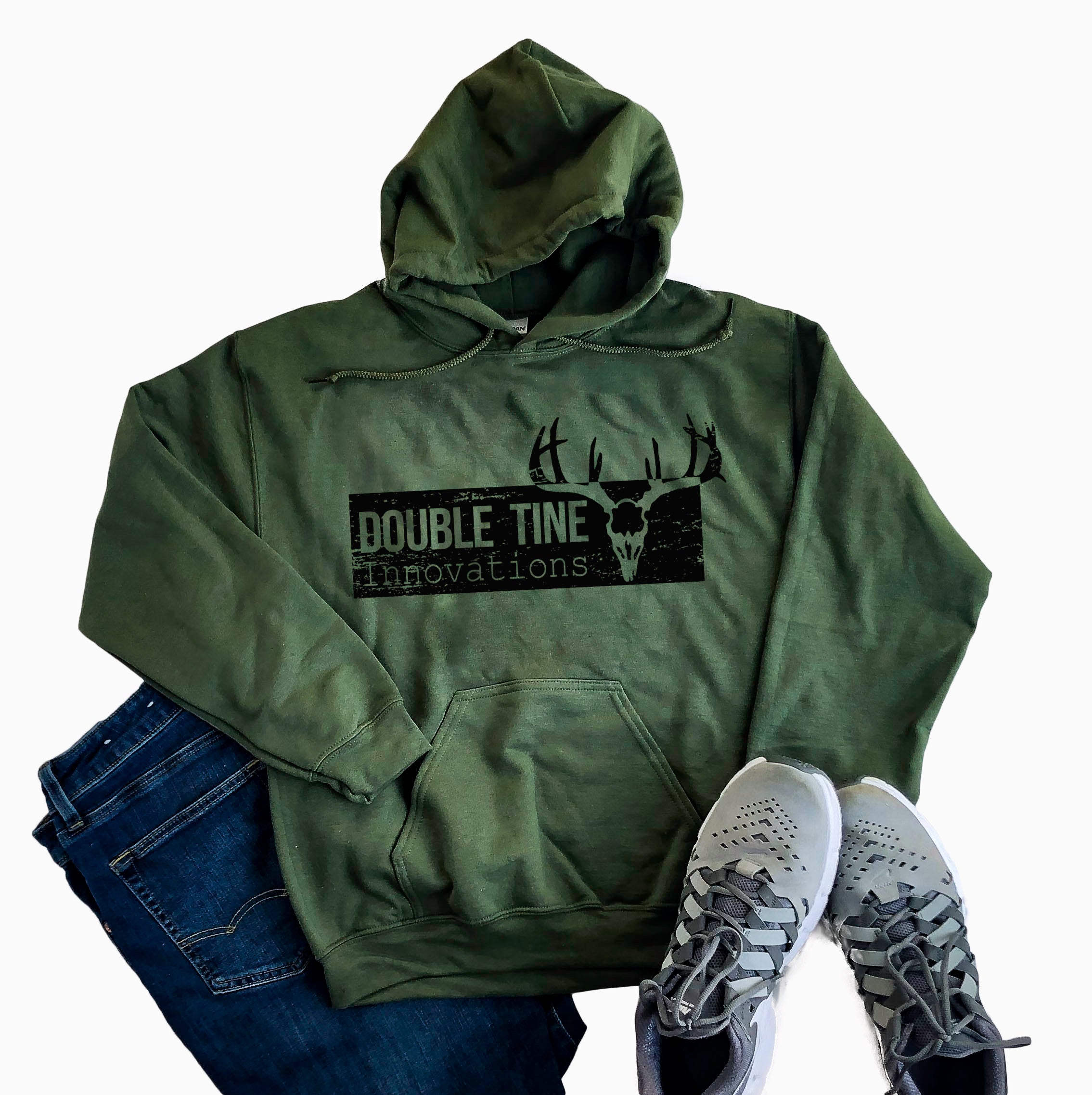 Military Green Double Tine Distressed Logo Sweatshirt