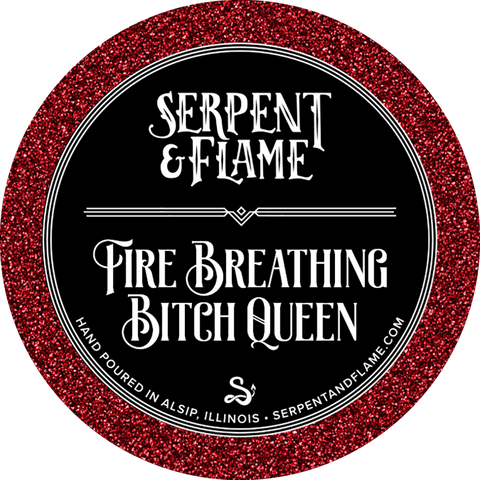 Fire Breathing Bitch Queen Candle, Lemon Verbena Bonfire Charcoal