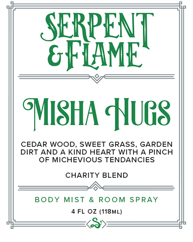 Misha Hugs 4oz Spray, Sweet Grass Cedar Wood Dirt