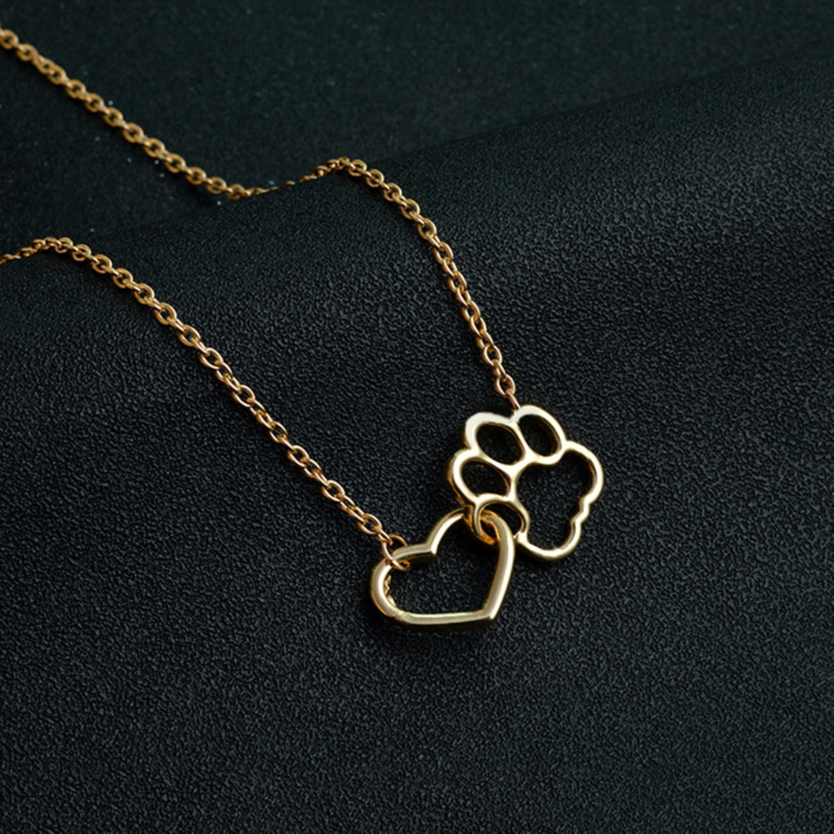 Gold Paw & Heart Necklace-mydogme-mydogme