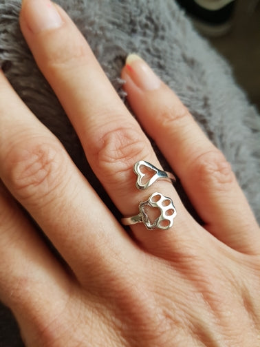 Silver paw & heart ring