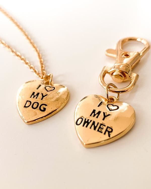 Gold I Love My Dog/Owner 2 Piece Set