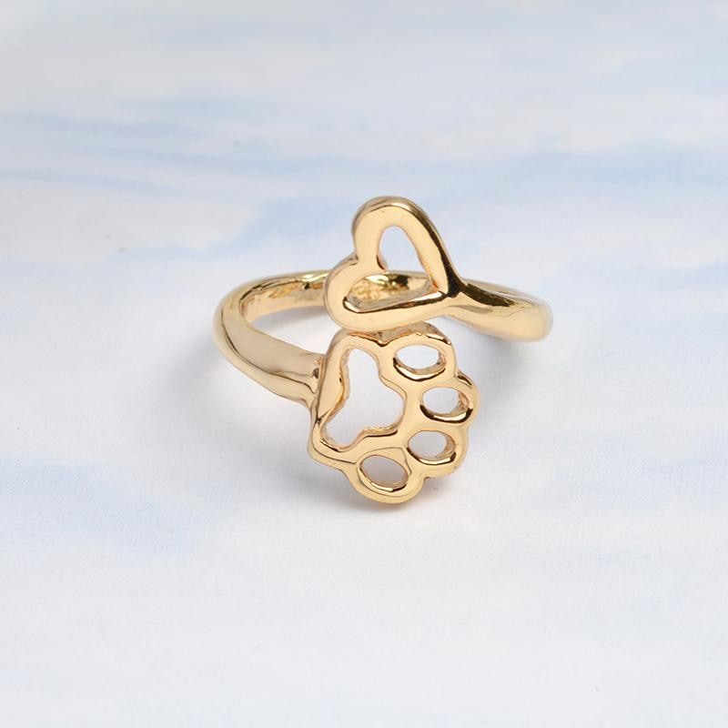 Gold Paw & Heart Ring