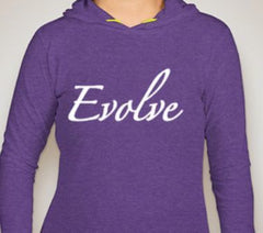 Ladies Hooded Long Sleeve T-Shirt Purple