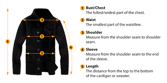 how to measure cardigan or sweater size