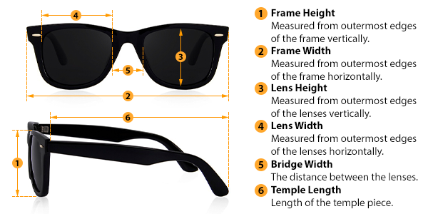 how to measure sunglasses size