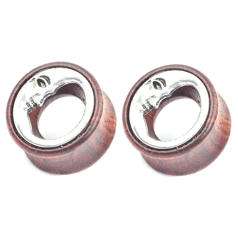 1 PC Bamboo Wood Ear Plugs / Gauges Flesh Tunnel Expander Moon Jewelry - HARD'N'HEAVY