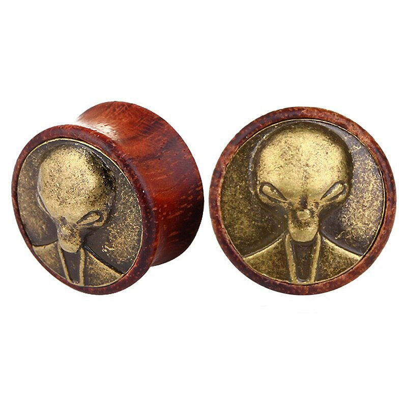 1 PC Bamboo Wood Ear Plugs Jewelry Gauges / Flesh Tunnel Expander with Alien - HARD'N'HEAVY