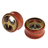 1 PC Bamboo Wood Ear Plugs Jewelry Gauges / Flesh Tunnel Expander with Batman Logo
