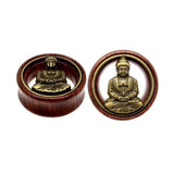 1 PC Bamboo Wood Ear Plugs Jewelry Gauges / Flesh Tunnel Expander with Buddha - HARD'N'HEAVY