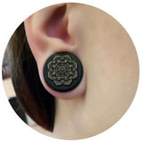1 PC Bamboo Wood Ear Plugs Jewelry Gauges / Flesh Tunnel Expander with Mandala - HARD'N'HEAVY
