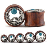 1 PC Bamboo Wood Ear Plugs Jewelry Gauges / Flesh Tunnel Expander with Mermaid - HARD'N'HEAVY