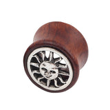 1 PC Bamboo Wood Ear Plugs Jewelry Gauges / Flesh Tunnel Expander with Sun