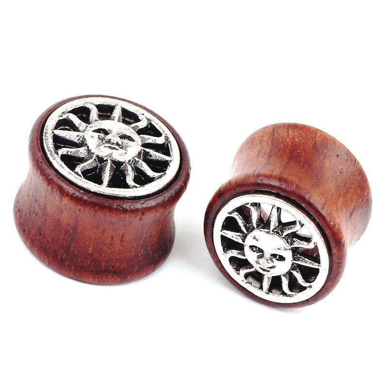 1 PC Bamboo Wood Ear Plugs Jewelry Gauges / Flesh Tunnel Expander with Sun - HARD'N'HEAVY