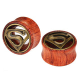 1 PC Bamboo Wood Ear Plugs Jewelry Gauges / Flesh Tunnel Expander with Superman Logo - HARD'N'HEAVY