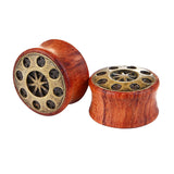 1 PC Bamboo Wood Ear Plugs Jewelry Gauges / Flesh Tunnel Expander with UFO - HARD'N'HEAVY
