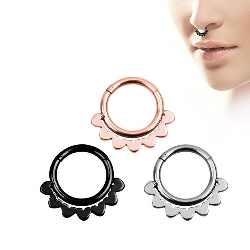 1PC Double Layers Steel Clicker / Segment Nose Hoop Rings / Alternative Hinged Ear Nose Piercing - HARD'N'HEAVY