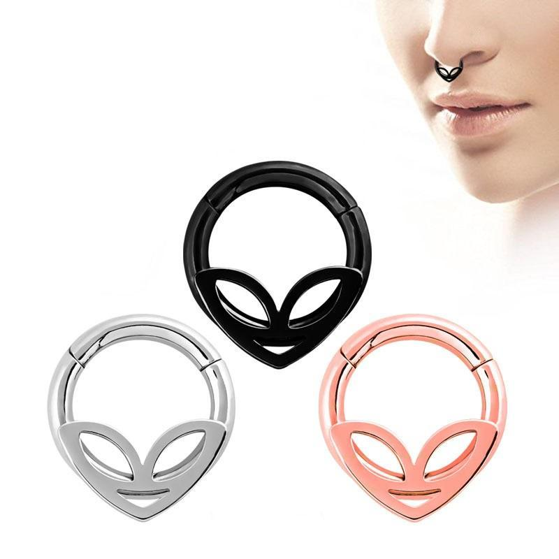 1PC Double Layers Steel Clicker Segment Nose Hoop Rings / Hinged Ear Nose Piercing - HARD'N'HEAVY
