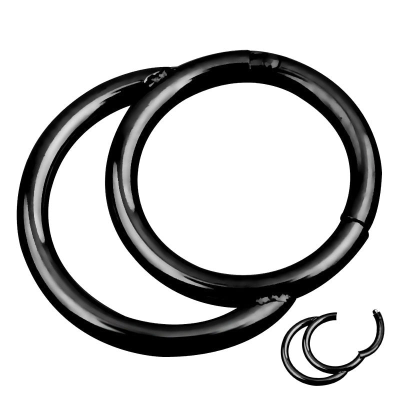 1PC Double Layers Steel Clicker / Segment Nose Hoop Rings / Hinged Ear Nose Piercing - HARD'N'HEAVY