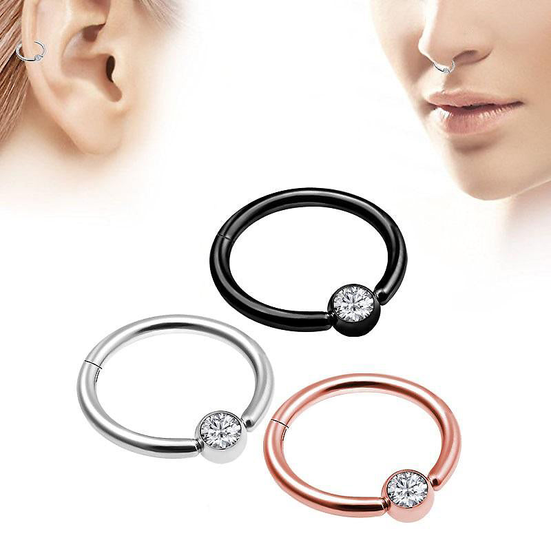 1PC Double Layers Steel Clicker Segment Nose Hoop Rings / Unisex Hinged Ear Nose Piercing - HARD'N'HEAVY