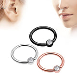 1PC Double Layers Steel Clicker Segment Nose Hoop Rings / Unisex Hinged Ear Nose Piercing