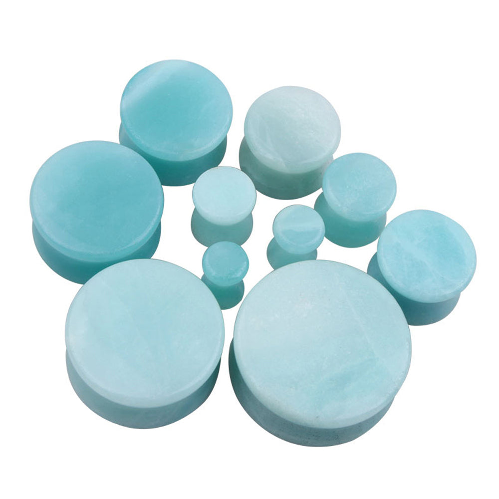 1PC Stone Ear Plugs / Gauges Earrings Flesh Tunnel Piercing / Amazonite Expander Body Jewelry - HARD'N'HEAVY