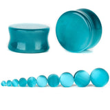 1PC Stone Ear Plugs / Gauges Earrings Flesh Tunnel Piercing / Blue Cats Eye Expander Body Jewelry - HARD'N'HEAVY