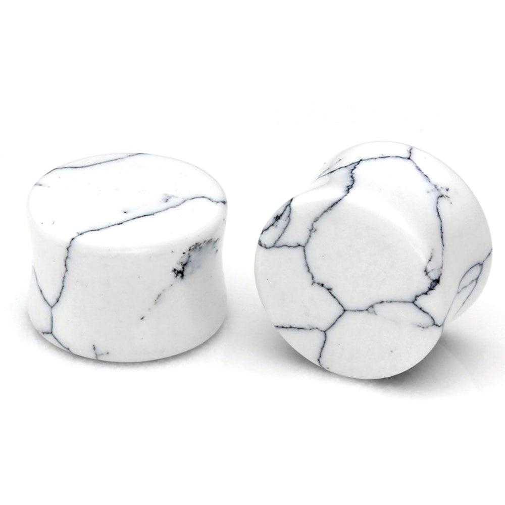1PC Stone Ear Plugs / Gauges Earrings Flesh Tunnel Piercing / White Turquoise Expander Body Jewelry - HARD'N'HEAVY