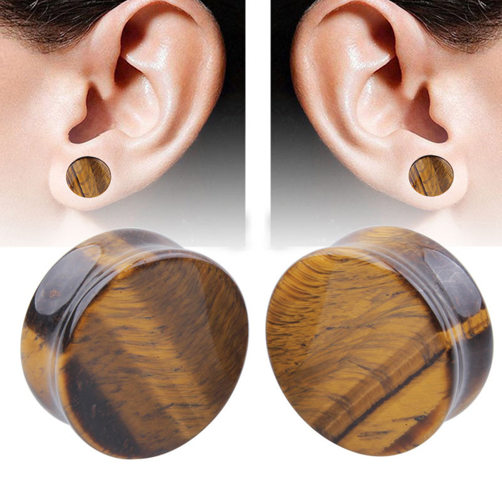 1PC Stone Ear Plugs / Gauges Earrings Flesh Tunnel Piercing / Yellow Tigerite Expander Body Jewelry - HARD'N'HEAVY
