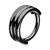 1PC Triple Layers Steel Clicker Segment Nose Hoop Rings / Hinged Ear Nose Piercing - HARD'N'HEAVY