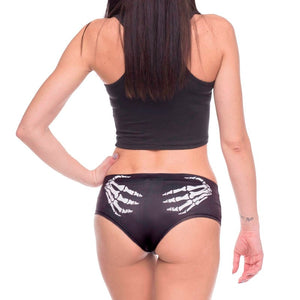 3D Black Skull Print Women's Underwear in Rock Style / Rocker Chic Clothing - HARD'N'HEAVY